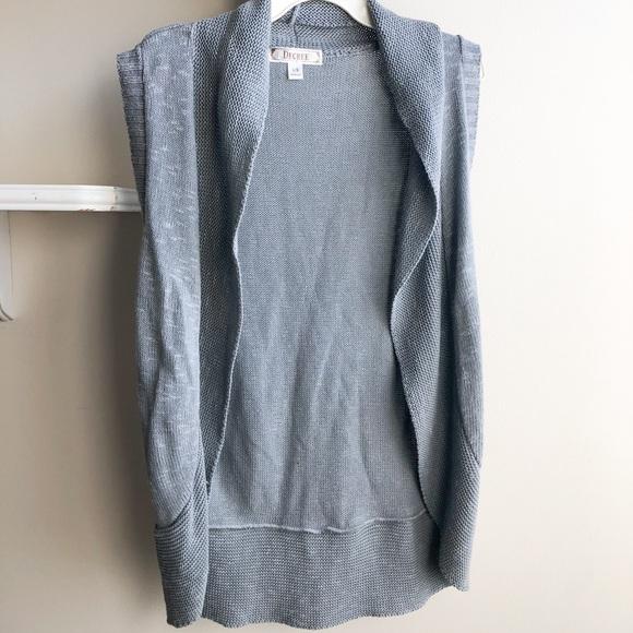 Long gray sweater vest
